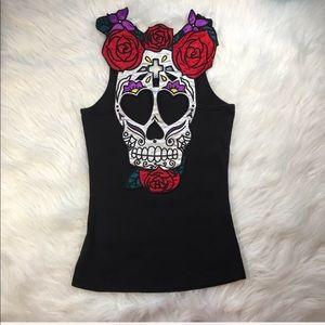HellBunny Black Racerback Sugar Skull Roses Tank